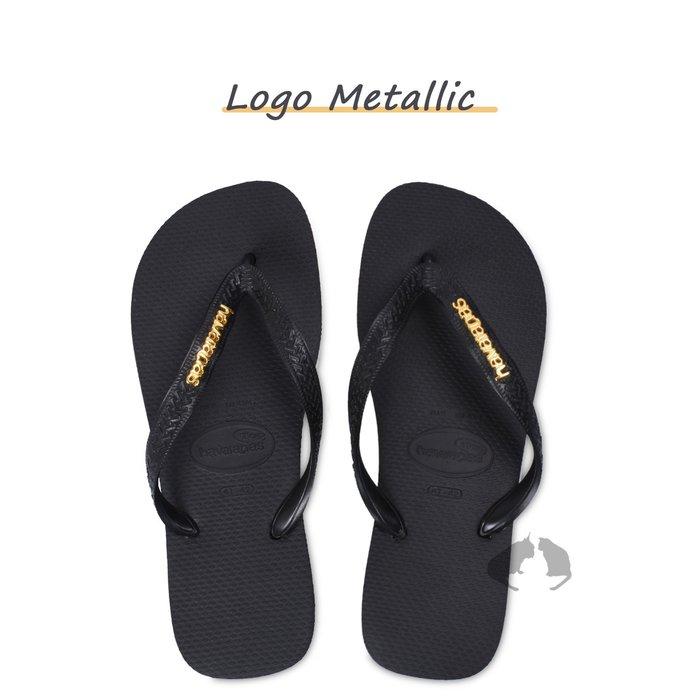 havaianas Logo metallic 黑色金屬金LOGO 零碼超特價 剩35/36 -阿法.伊恩納斯 哈瓦仕
