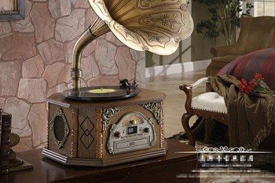 【易發生活館】歐式古典留聲機 黑膠唱片機 仿古收音機 臺式 老式 餐廳/家庭裝飾