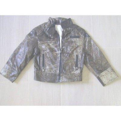 全新【Vera Pelle】小孩厚料皮褸Leather Jacket深灰色Made in Italy(身長15吋,肩膀13吋)原$5,998