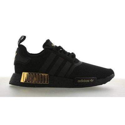 【吉米.tw】adidas NMD R1 Originals 男款 全黑 金 復古 黑金 慢跑鞋 H67844  DEC