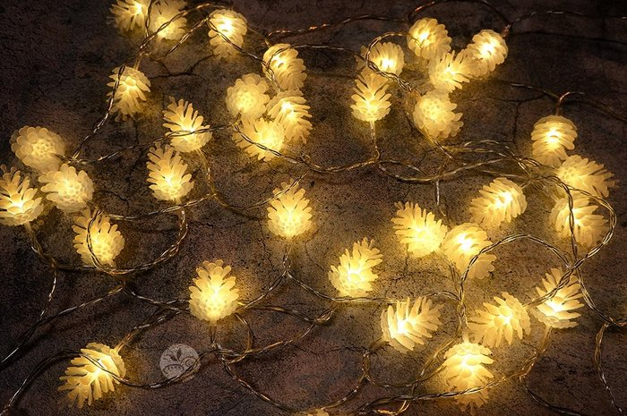 裝飾燈串_松果40顆(電池)6米_B039-001◎串燈.燈具.松果.裝飾燈.聖誕節.布置.裝飾