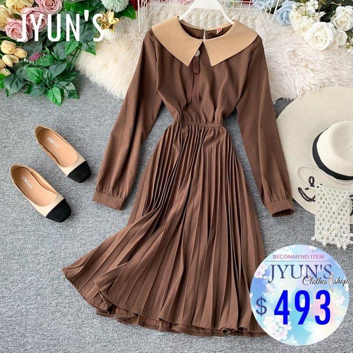 JYUN'S 秋季新款法式復古收腰繫帶娃娃領百褶長袖洋裝連衣裙顯瘦中長裙連身裙4色 預購
