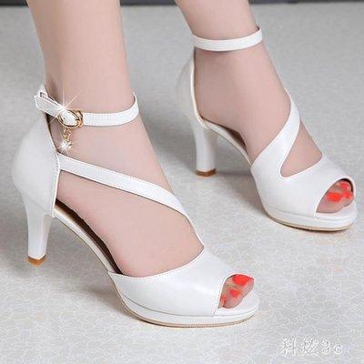新款潮流中大尺碼涼鞋女細跟中跟魚嘴舒適真皮漏腳趾大碼女鞋 js5932『全館免運』