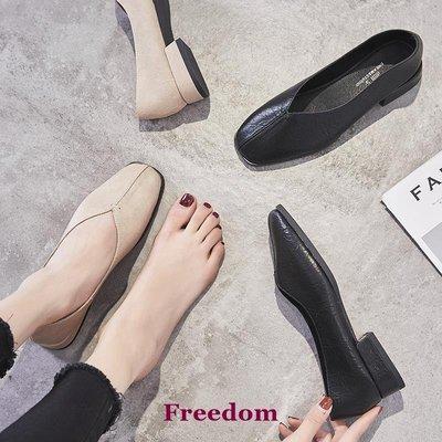 Freedom女鞋小皮鞋女ins潮2019春季新款正韓平底單鞋淺口百搭方頭復古奶奶鞋