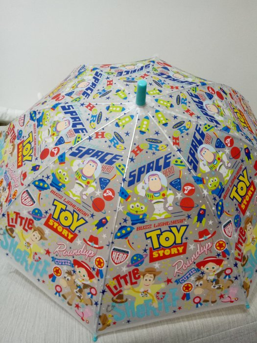 天使熊雜貨小舖~迪士尼玩具總動員直立透明雨傘  半自動兒童雨傘 全新現貨