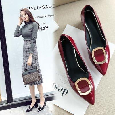高跟鞋女 秋季新款真皮尖頭粗跟單鞋黑色中跟瓢鞋酒紅韓版女鞋