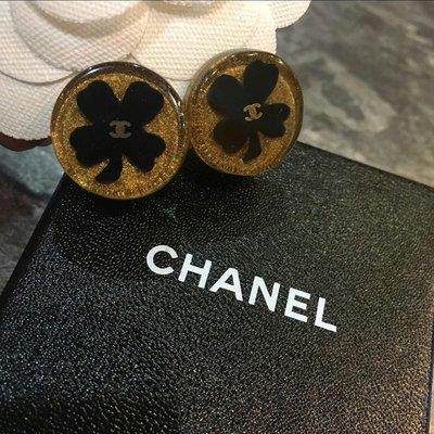 Chanel 香奈兒金色logo幸運草夾式耳環 高雄市