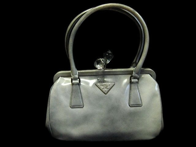 *Beauty*PRADA灰色漸層水晶釦手提包 可短肩背 CR