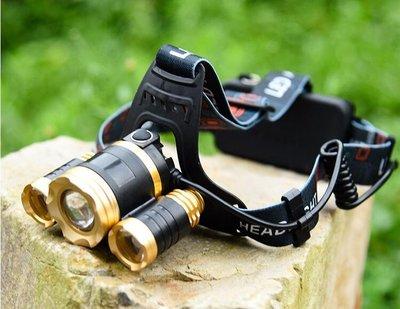 全新  V15-B 鋰電頭燈強光充電超亮遠射釣魚夜騎led戶外t6頭燈手電筒K34