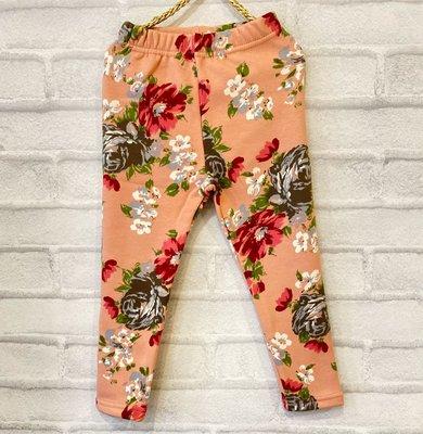 【現貨100】韓國童裝~韓國 Home Rum 甜美風花朵刷毛褲 內搭褲 保暖