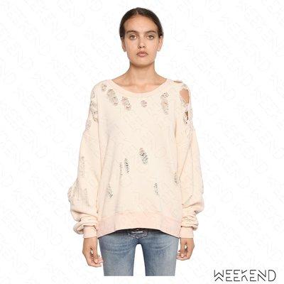 【WEEKEND】 UNRAVEL 破壞 挖洞 落肩 寬鬆 長袖 衛衣 上衣 淺粉色 18春夏新款