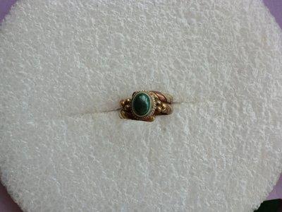 西藏老戒:三色銅.鑲綠色寶石