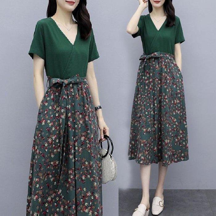 棉麻洋裝 碎花拼接棉麻連身裙女夏2020年新款氣質顯瘦v領系帶亞麻裙子 站CXZJ