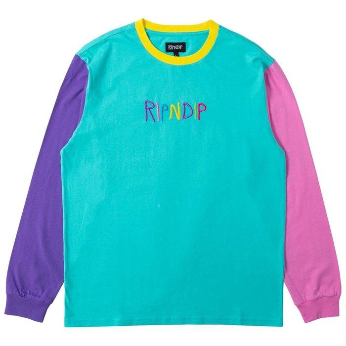 【A-KAY0】RIPNDIP 男女 EMBROIDERED LOGO L/S長T 粉紅藍紫黃【RND3945MULI】