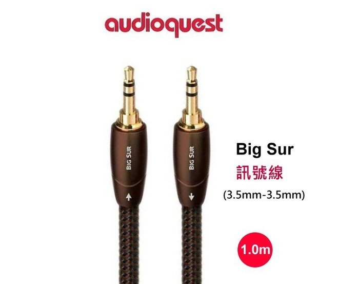 鈞釩音響~美國線聖 Audioquest BIG SUR 3.5mm-3.5mm 音源訊號線(1.0m)