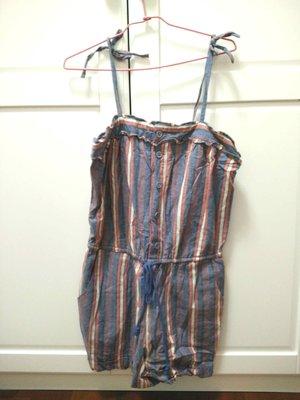 美國帶回~美國品牌真品正品~ cooperative專櫃~全新丹寧布可愛細肩帶綁帶條文連身褲