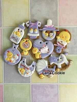 可接急單 收涎餅乾 雞寶寶系列 10片 女寶寶  紫色系 糖霜餅乾 生日禮物 手工餅乾 不挑款(Lena Cookie)