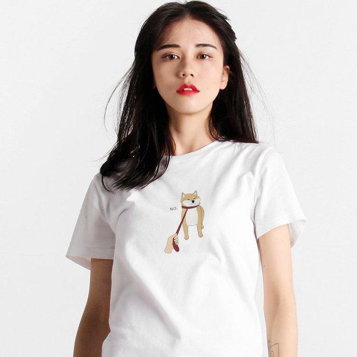 【快速出貨】中間小圖 Shiba Inu No 短袖t恤 白色 衣服 短T 寬鬆 情侶裝 柴犬 日本 動物 狗 班服
