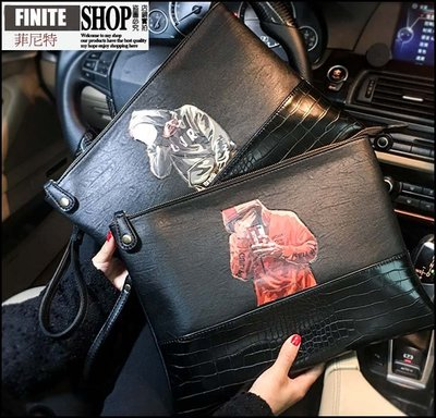 Finite-菲尼特-個性潮流街頭手拿包撞色印花皮質手腕包青年新款手腕包iPad手抓包