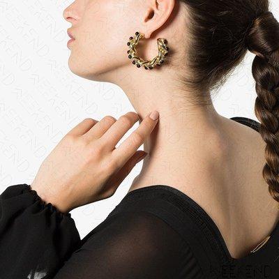 【WEEKEND】ROSANTICA 金屬 鍊條 黑珠 一對 耳環 金色