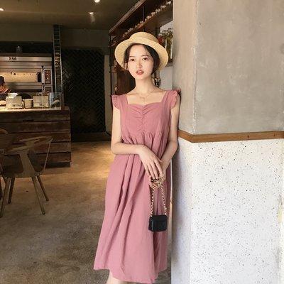 粉紅少女系裙子ulzzang女學生韓版小清新中長款淑女風連衣裙甜美