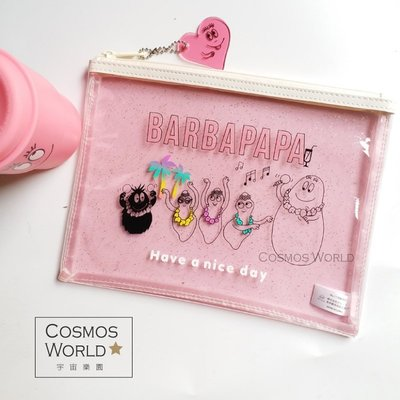 可愛粉紅先生草裙舞系列pvc透明拉鍊防水袋化妝包 收納包 隨身包
