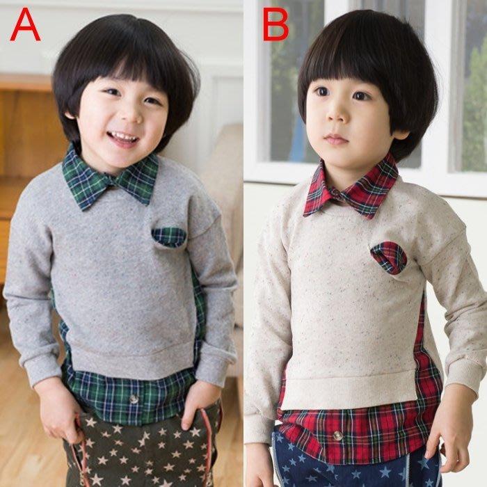 韓版《格紋學院風》假二件 帥氣長袖上衣 (L4-3)