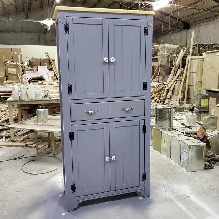 美生活館 家具訂製 鄉村風格 茵儷 雙色 淺木加紫灰色 兩抽四門 高鞋櫃 收納櫃 玄關櫃 置物櫃 衣帽櫃