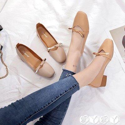 豆豆鞋 秋粗跟奶奶鞋中跟復古瑪麗珍蝴蝶結豆豆鞋方頭百搭單鞋女