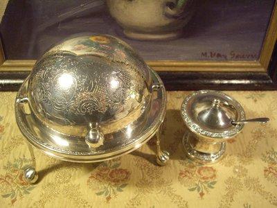 歐洲古物時尚雜貨 英國鍍銀 高腳掀蓋器皿 起司果醬器皿 糖罐附匙 古董收藏 一組2件