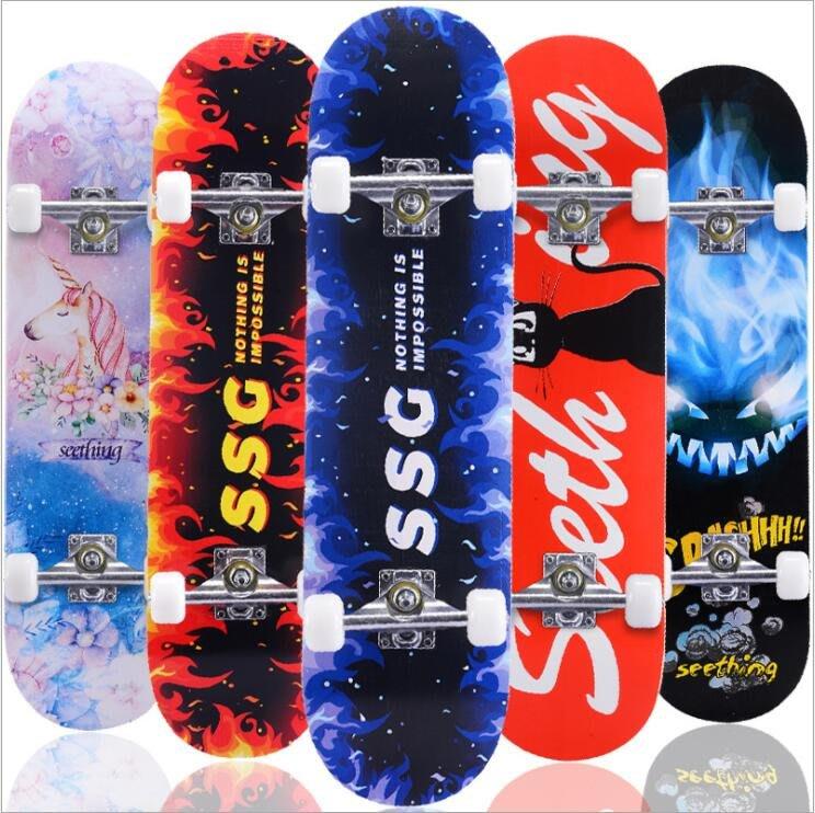 【送工具+滑板包】四輪滑板青少年成人初學者刷街兒童8歲以上雙翹板滑板3108凹板專業楓木滑板車
