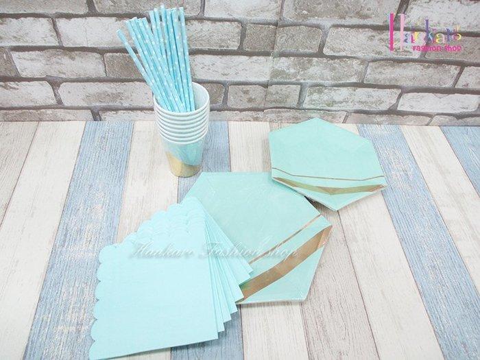 ☆[Hankaro]☆ 歐美創意派對布置道具藍綠色底燙箔免洗餐盤套裝組