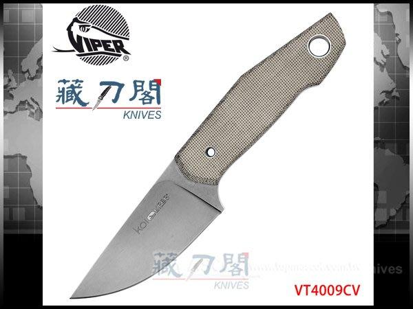 《藏刀閣》VIPER-(Koi)綠色電木柄N690Co鋼直刀