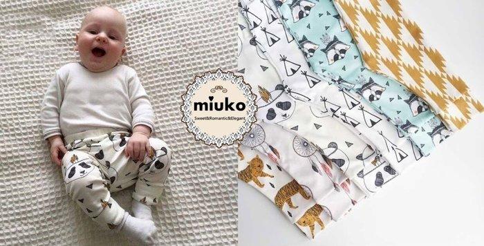 miuko BABY款歐美嬰幼兒兒童寶寶熊貓幾何小帳篷狸貓LA字母哈倫純棉奧戴爾棉長褲PP褲