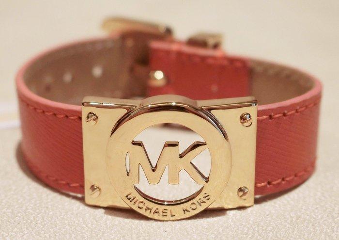 大降價!全新美國 Michael Kors MK 橘色皮革手環,含原外廠絨布袋,低價起標無底價!本商品免運費!