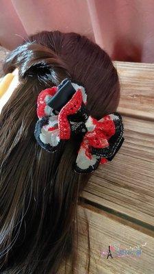 小靚妹の舖~皮套彈簧夾 刺繡蕾絲蝴蝶結 髮夾 彈簧夾 特價