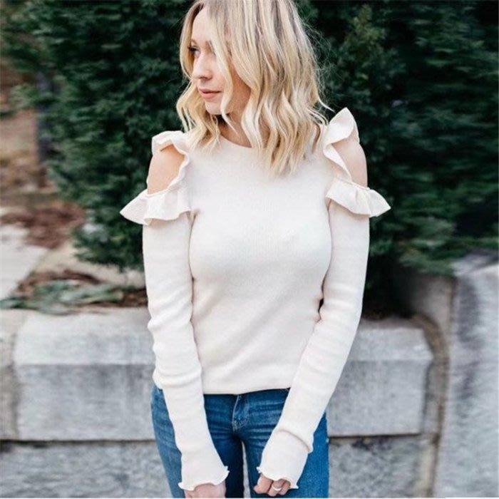 [現貨] 歐美AA風 純色甜美荷葉邊挖肩長袖針織毛衣