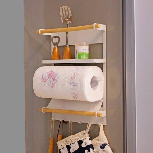 日本家用冰箱側吸紙巾架吸鐵石置物架收納架廚房紙巾掛架多層收納_☆優購好SoGood☆