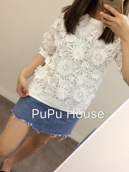 正韓 高單價立體雕花蕾絲衣*白色現貨