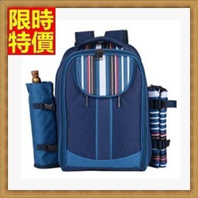 野餐包 2人餐具組 雙肩後背包-多人野炊郊遊套裝雙肩藍綠雙色野餐包 68ag21[獨家進口][米蘭精品]