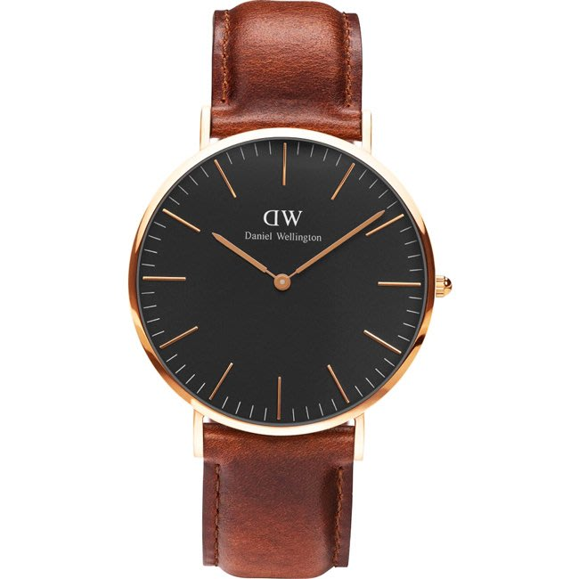 Amily 艾美麗_經典淺紅咖啡皮革腕錶(00100124)【DW】