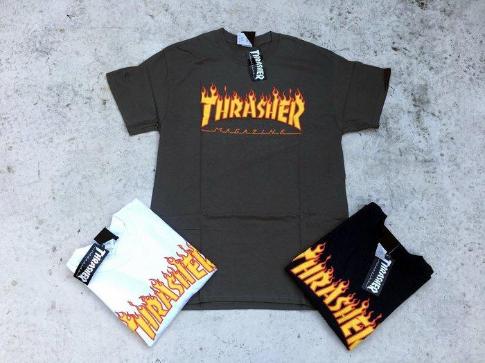 【HOMIEZ】THRASHER FLAME LOGO TEE 【110102】經典 火燄短T 白 黑 鐵灰 深藍