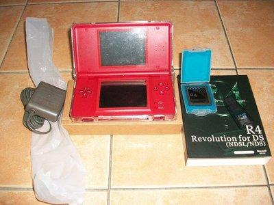 [高屏科技]2手 NDSL 瑪莉歐 紅色主機+全新R4卡+全新2G卡+水晶殼+變壓器 正常可用