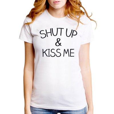 SHUT UP AND KISS ME女生短袖T恤-2色 文字 英文 字母 文青 Gildan 490