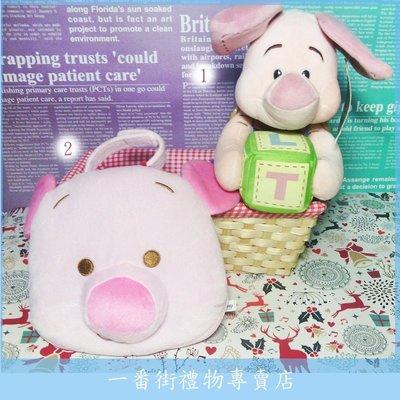 一番街☆日本帶回☆小熊維尼之小豬Piglet]抱積木復古版玩偶-1號下標區-