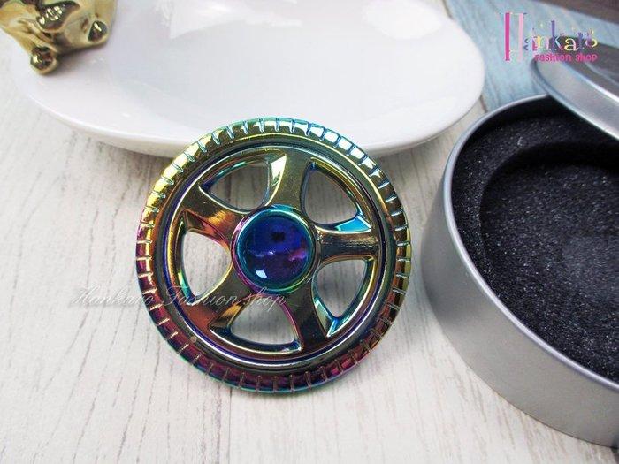 ☆[Hankaro]☆ 流行金屬電鍍幻彩車輪造型指尖陀螺手指陀螺