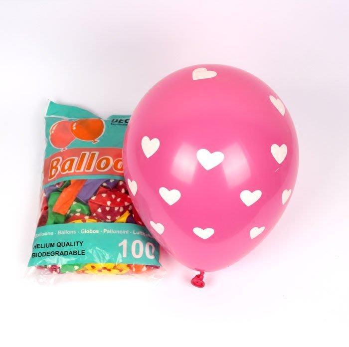 【桃園氣球專賣】乳膠氣球批發~~K牌12吋圓球愛心點點印花  婚禮佈置 /求婚/會場佈置/空飄氣球專用
