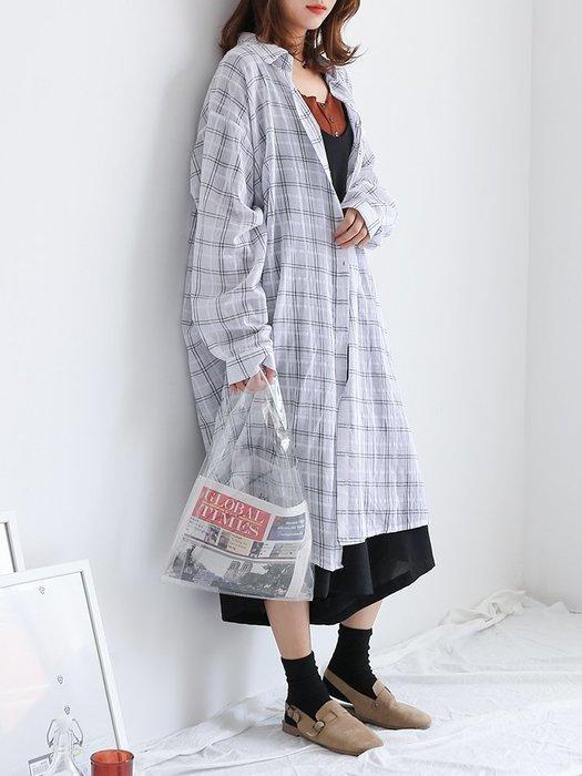 格子 襯衫 正韓2018夏裝新款韓版中長款格子 白襯衫女長袖學生防曬衫文藝范襯衣