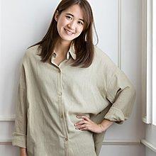 Magnolia x alba.s - B18011韓版麻質兩色寬袖側扣恤衫