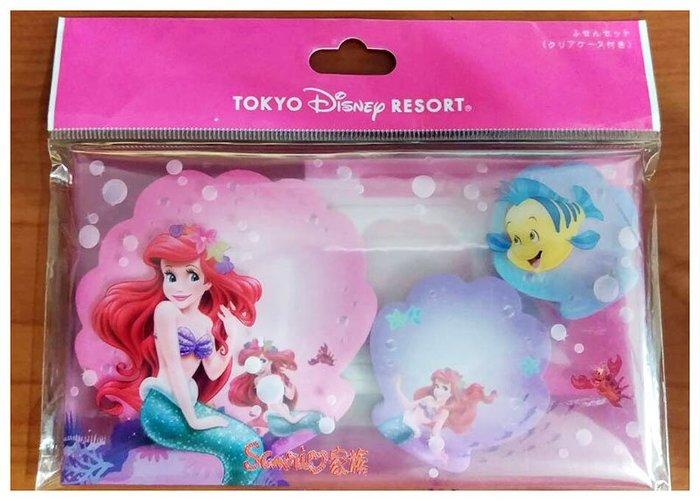 《東京家族》 日本東京迪士尼限定 小美人魚 愛麗兒 小比目魚 貝殼造型便條紙3入 收納盒裝